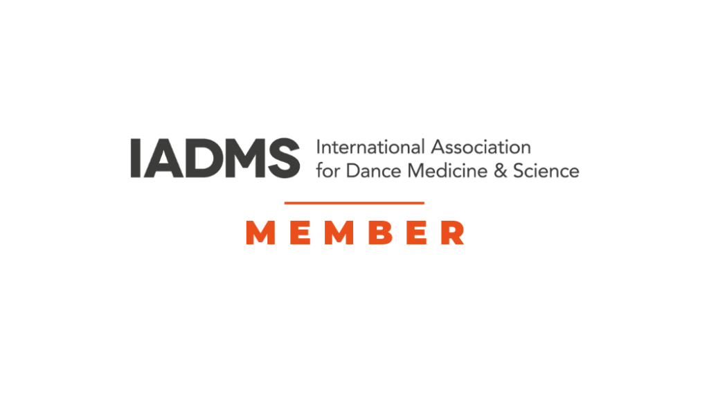 IADMS logo which says International Association for Dance Medicine & Science Member in text