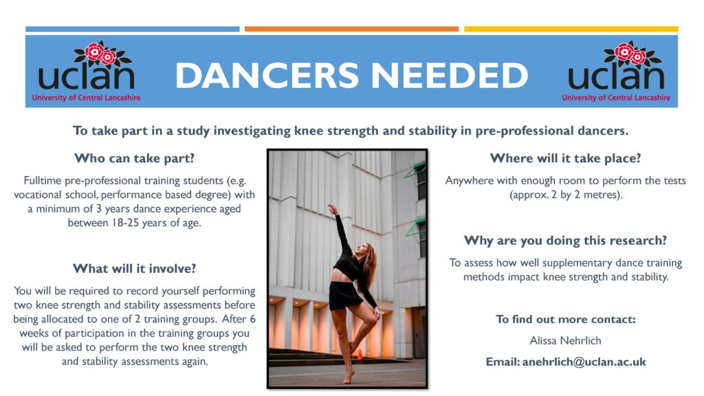 Dancers needed. Who can take part? Fulltime pre-professional training students (e.g.  vocational school, performance based degree) with  a minimum of 3 years dance experience aged  between 18-25 years of age. What will it involve? You will be required to record yourself performing  two knee strength and stability assessments before  being allocated to one of 2 training groups. After 6  weeks of participation in the training groups you  will be asked to perform the two knee strength  and stability assessments again.